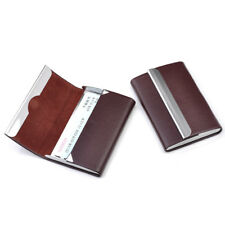 1X Brown PU Leather Metal Business ID Credit Card Holder Pocket Box Case Magnet
