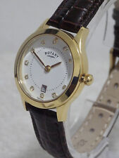 Rotary Ladies LS03900/06 Gold Plated Crystal Swiss Leather Strap Watch £99 NEW