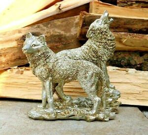 Grey Wolf Couple Totem Statue Sculpture Figurine Tabletop Home Office Decoration