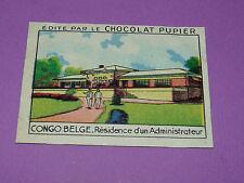 CHROMO CONGO BELGE N°229 RESIDENCE CHOCOLAT PUPIER AFRIQUE 1938-1950