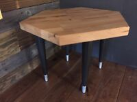 Handmade Beech Side Table with Upcycled Ercol Legs