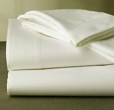 "Bed Sheet Set 4 Pc 400 Tc 100% Cotton Queen Size 18"" Drop Ivory Solid Mdh"