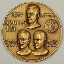 Apollo 15 Scott Worden Irwin High Relief Bronze Space Medal (SRB 7)