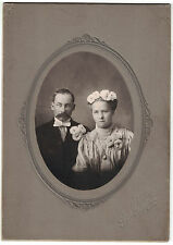 Late 1800s Cabinet Photo of Handlebar Mustache - Photo of Couple