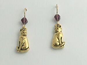Gold-Tone Pewter &14k gf Sweet sitting Cat dangle Earrings- cats, feline, purple