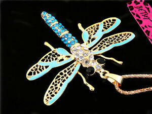 Betsey Johnson Fashion Cute Crystal Blue Opal dragonfly Pendant Necklace