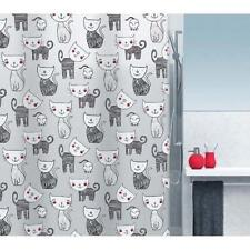 Spirella Cat design Shower Curtain 180 x 200 cm PVC / PEVA Black Free UK Postage