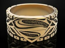 Man Of Steel Superman Mens Ring Biker Yellow Gold Plated 925 Sterling silver