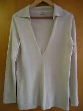 Odeon sweater top V-neck long sleeve light brown L