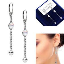 925 Sterling Silver Long Earrings Crystal AB Xirius Genuine Swarovski® Crystals