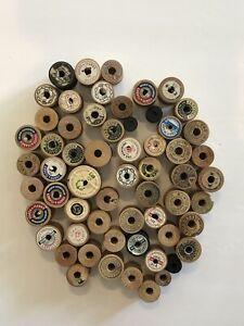 Vintage Lot of 50+ Wooden Thread Spools Boiling Coats & Clarks Belding Empty