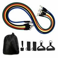 11pcs Resistance Band Exercise Yoga Pilates Abs Fitness Tube Workout Bands CN