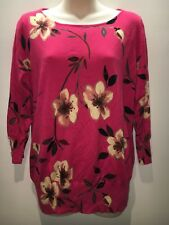 Next UK Red Pink Floral Cotton Blend Jumper Knit Top Size UK 16 Fit AU 12 14
