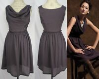 Anthropologie Plum Waffle Weave Sleeveless Cowl Neck Dress By Ric Rac Size S