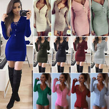 Womens Long Sleeve Sweater Winter Knitted Bodycon Mini Dress Jumper Tops