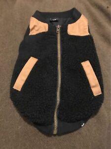 Dog Jacket Black and Brown Zip Up Warm Cozy