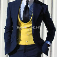 Men Navy Blue Suit Yellow Double Breasted Vest Tuxedo Wedding Formal Suit Custom
