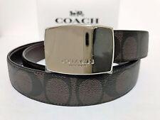 NWT Men's Coach F64828 Cut to Size Dress Plaque Reversible Belt Mahogany Brown