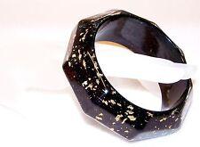Vintage LUCITE 9 Sides Bangle Bracelet BLACK Background GOLD FOIL GLITTER 1&3/16