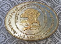 North American Hunting Club Life Member Buckle Gold Silver Tone #43