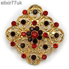 Diamante Crystal Wedding Party Pin Broach New Gold Fab Flower Bouquet Brooch Red