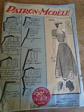 (010) ANCIEN PATRON ECHO DE LA MODE French Pattern ROBE DECOLLETE TRAPEZE  44