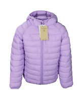 NEW M*S Girls Jacket Coat Lilac Purple Zipped Padded Hooded Warm Rain Stormwear