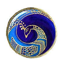 Miniature 3-piece Art Deco Set - Stylized Peacock, Wide Clock, Ornate Vessel