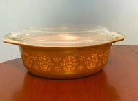 Pyrex 043 Art Nouveau Casserole Dish 1.5 Qt Vintage Promotional with Lid