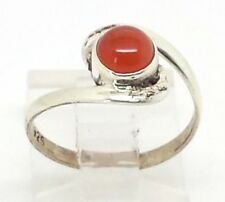 Ethnic Native Red Coral Gem Sterling Silver 925 Ring 1g Sz.6 CG1548