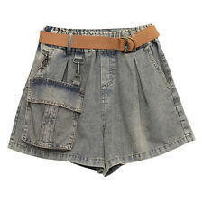 Women Cargo Denim Shorts Pocket Hot Pants Trousers Jeans High Waist Retro