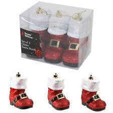 ALBERO di Natale Decorazione Set di 3 Glitter Santa Boot baubles