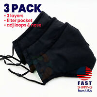 [3 PACK] BLACK 3 Layers Cotton Face Mask Cover Filter Pocket Reusable Washable