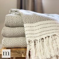 Eco Friendly Natural Linen Beige Abstract Diamond Bed Sofa Throw Blanket Fringe