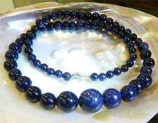 6-14mm Galaxy Staras Blue Sand Sun Sitara Gemstone Round Beads Necklace 18""