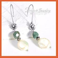 Handmade Silver Crystal Flower White Pearl Stone Womens BOHO STATEMENT EARRINGS