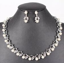 Bridal Wedding Necklace Jewellery Ivory Pearl & Crystal 3pc Set