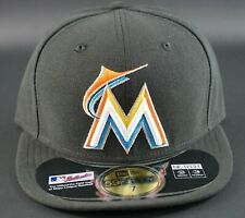 New Era Miami Marlins On-Field 59Fifty Fitted Black Baseball Cap Hat MLB Size 7