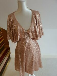 Beautiful Rose Gold Sequined Stretch Party Christmas Dress Lace Back size 12