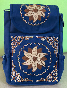 Hand made Suede Leather Back Pack with adjustable strap Hand Embroidered Blue