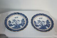Pair Booths Real Old Willow Plates Blue & Gold Made In England Japanese Theme