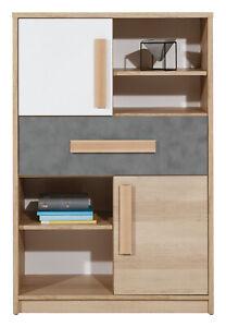 Aygo Modern Cabinet Cupboard Shelving Unit Bookstand in White & Oak & Grey