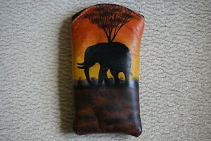 Padded Leather Glasses or Sunglasses Case, Hand Painted with African Scene