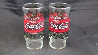 Lot of 2 Vintage COCA COLA Tiffany Style Stained Glass 16 OZ. Water Glasses