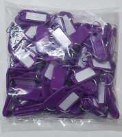 100 Schlüsselschilder mit Ring zum Beschriften Schlüsselanhänger lila