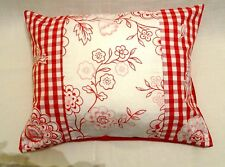 Laura Ashley Stencil floral gingham red rectangular large cushion cover 16x20 BN