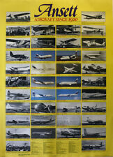 "ANSETT AIRCRAFT SINCE 1920 POSTER  - RARE 1987 EDITION- 84 x 60 cm 33"" x 24"""