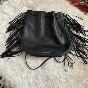 Victorias Secret Fringe Backpack Purse Bucket Bag Faux Leather Cinched Black