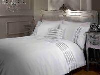 Rapport Crystal Diamante Embellished Duvet Cover Bedding Set White
