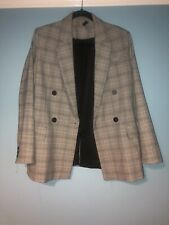 Topshop Grey Checked Double-Breasted Blazer UK 8
